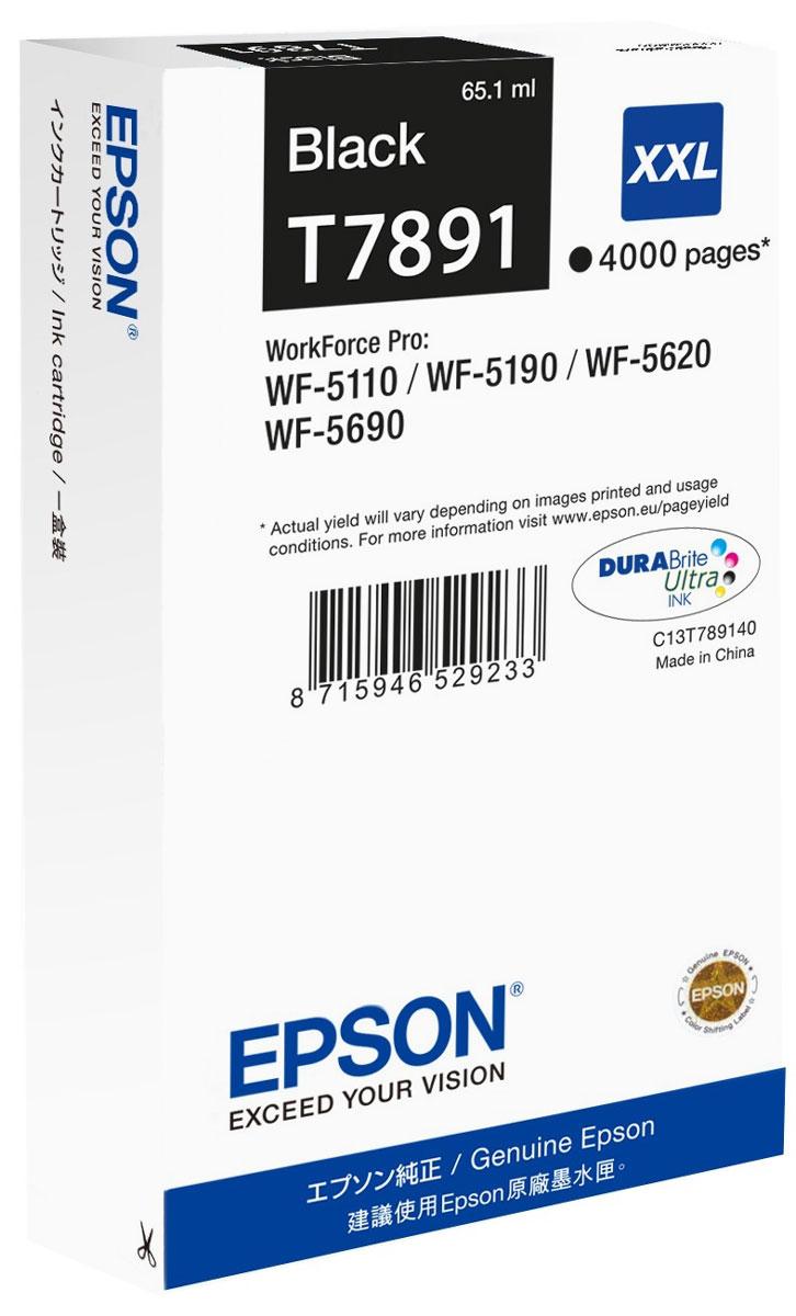 Epson T7891 XXL (C13T789140), Black картридж для WorkForce Pro WF-5xxxC13T789140Картридж экстраповышенной емкости Epson T7891 XXL с черными чернилами для Epson WorkForce Pro служит для печати превосходных фотоснимков и рассчитан на 4000 страниц печати.