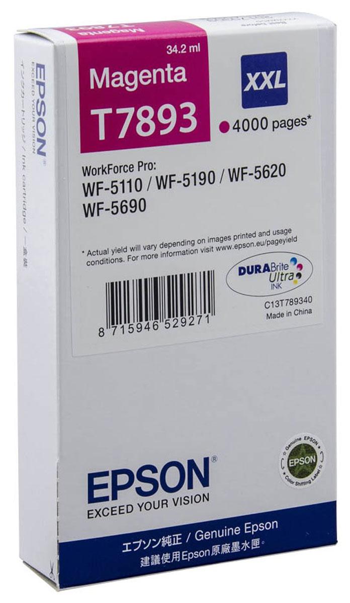 Epson T7893 XXL (C13T789340), Magenta картридж для WorkForce Pro WF-5xxxC13T789340Картридж экстраповышенной емкости Epson T7893 XXL с пурпурными чернилами для Epson WorkForce Pro служит для печати превосходных фотоснимков и рассчитан на 4000 страниц печати.