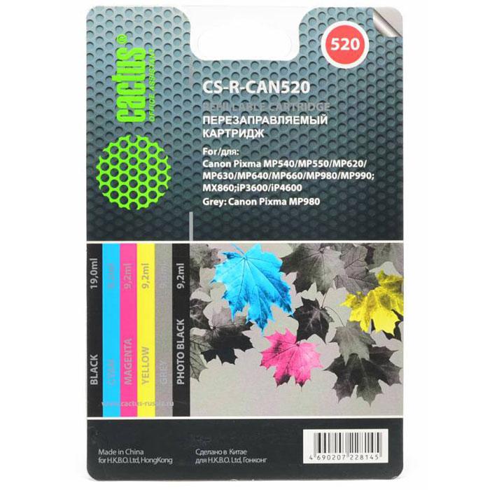 Cactus CS-R-CAN520, Color комплект картриджей для Canon PIXMA MP540/ MP550/ MP620CS-R-CAN520Комплект перезаправляемых картриджей Cactus CS-R-CAN520 для Canon Pixma MP540/ MP550/ MP620/ MP630/ MP640/ MP660/ MP980/ MP990; MX860; iP3600/ iP4600. Расходные материалы Cactus для печати максимизируют характеристики принтера. Обеспечивают повышенную четкость изображения и плавность переходов оттенков и полутонов, позволяют отображать мельчайшие детали изображения. Обеспечивают надежное качество печати. Объем цветного картриджа: 9,2 мл Объем черного (фото) картриджа: 9,2 мл Объем серого картриджа: 9,2 мл