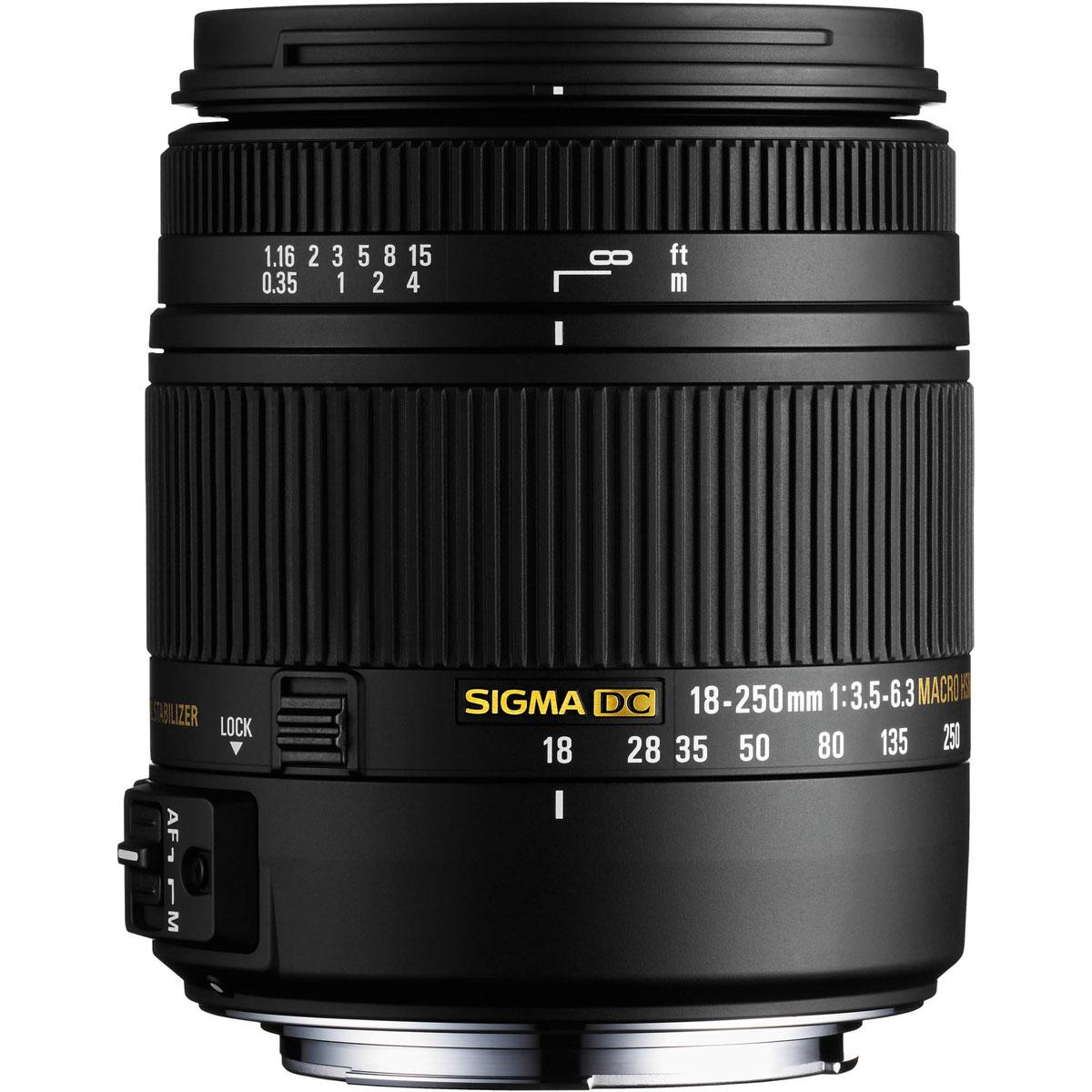 Sigma AF 18-250mm F3.5-6.3 DC MACRO OS HSM, Black объектив для Nikon883955Как наследник известного SIGMA 18-250mm F3.5-6.3 DC OS HSM, объектив SIGMA 18-250mm F3.5-6.3 DC MACRO OS HSM символизирует новое поколение ультразумов с высоким качеством изображения и, в тоже время, с компактными размерами и низким весом. Полностью переработана конструкция объектива. Специальное низкодисперсное стекло SLD превосходно устраняет цветовые аберрации. Три асферические линзы, включая одну двухстороннюю асферическую линзу, совместно с использованием передовой оптической конструкции, предотвращают и корректируют все типы оптических искажений, включая астигматизм. Оптимизирована электрическая часть Улучшены возможности фотосъемки с минимальных дистанций Применен новый термостабильный композит TSC Примерно на 25% легче и компактнее существующих аналогов