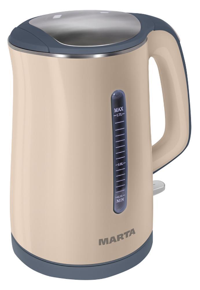 Marta MT-1065, Beige электрочайникMT-1065 beigeЧайник строгой формы, выполненный в разных цветах, с эффектом термоса! Отличная вещь и отличный подарок. Обеспечивает энергосбережение и отличное настроение.