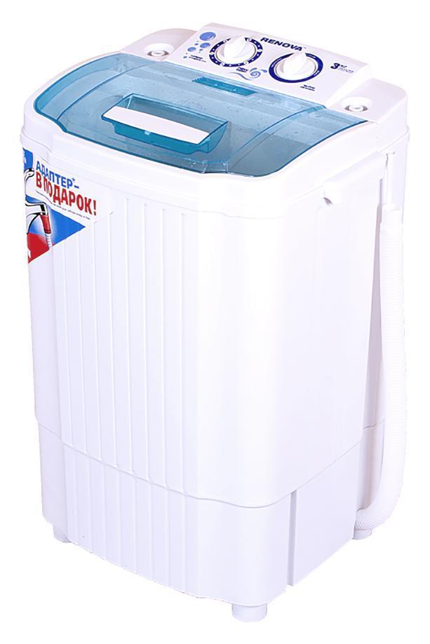 Renova WS-30ET стиральная машина4650000914508Стиральная машина полуавтомат RENOVA WS-30ET российского производства с вертикальной загрузкой имеет бак объемом 3 кг, а также механическое управление. Новый, более мощный двигатель, повышает эффективность стирки. Эксклюзивная форма активатора направленно распределяет потоки воды, что улучшает качество стирки. Класс энергоэффективности: А+ Загрузка сухого белья в бак до 3.0 кг Потребляемая мощность: 200 Вт Таймер стирки Пластиковый корпус, не подверженный коррозии Масса НЕТТО: 6,7 кг Масса БРУТТО: 7,6 кг Габариты (ширина/глубина/высота): 410 х 330 х 635мм Размеры упаковки: 440 x 365 x 650 мм Сделано в России