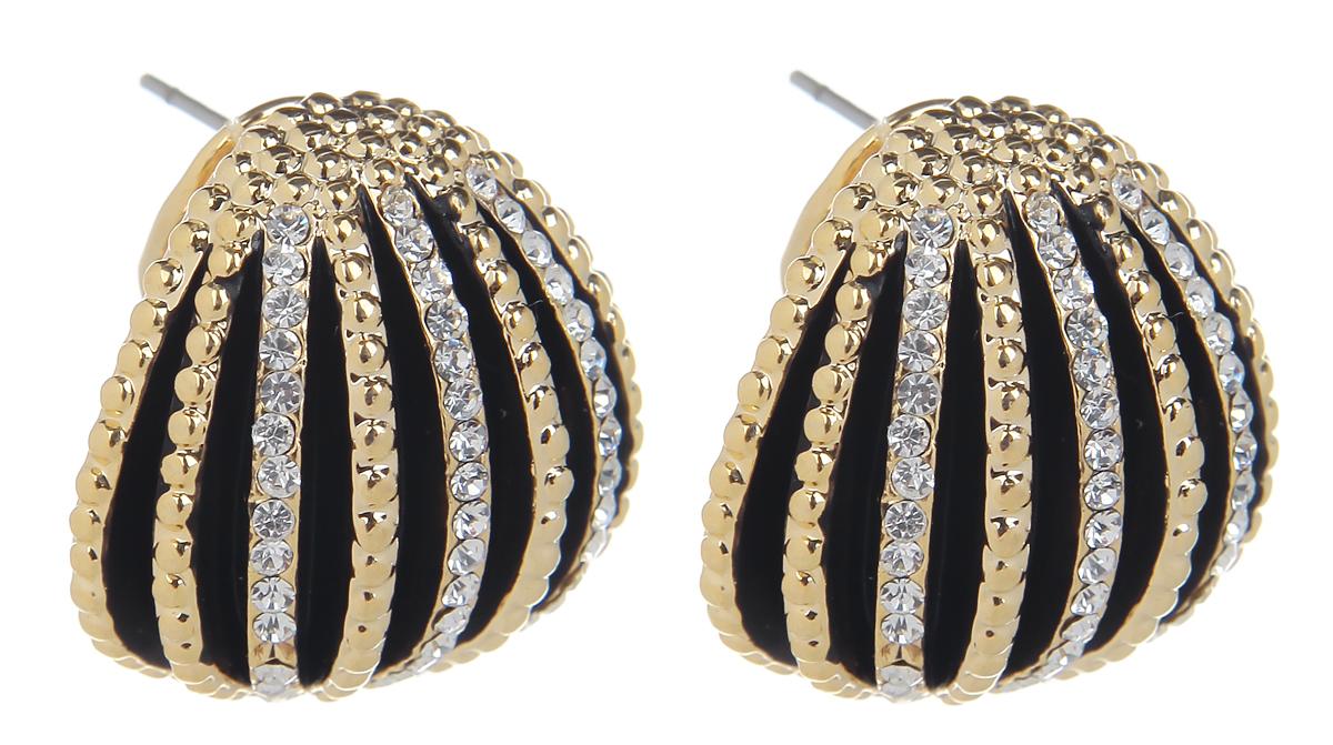 Серьги Fashion House, цвет: золотой, черный. FH32050FH32050Оригинальные серьги Fashion House, выполненные из металла с золотистым покрытием в виде круга, частично покрытым эмалью и декорированным стразами. Серьги застегиваются на итальянский замок. Изящные серьги придадут вашему образу изюминку, подчеркнут красоту и изящество вечернего платья или преобразят повседневный наряд. Такие серьги позволит вам с легкостью воплотить самую смелую фантазию и создать собственный, неповторимый образ.