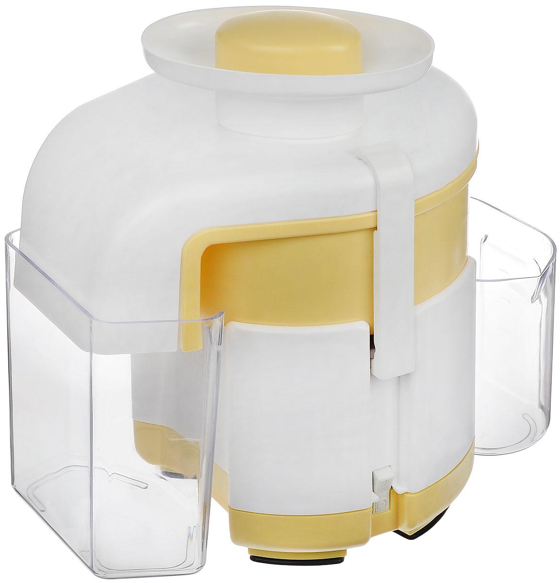 Журавинка СВСП 102 П, White Yellow соковыжималкаСК СВСП 102ПЖуравинка СВСП 102 П - персональная соковыжималка с ручным сбросом жмыха, который позволяет выжать весь сок до последней капли. Неограниченное время работы дает возможность отжимать любое количество сока за один раз. Простая сборка и уход. В данной ценовой категории модель находится вне конкуренции. Достаточно высокая производительность позволяет применять соковыжималку при сезонной заготовке сока, а сравнительно небольшие габариты и масса делают ее удобной и при ежедневном использовании. Производительность: 550 г/мин