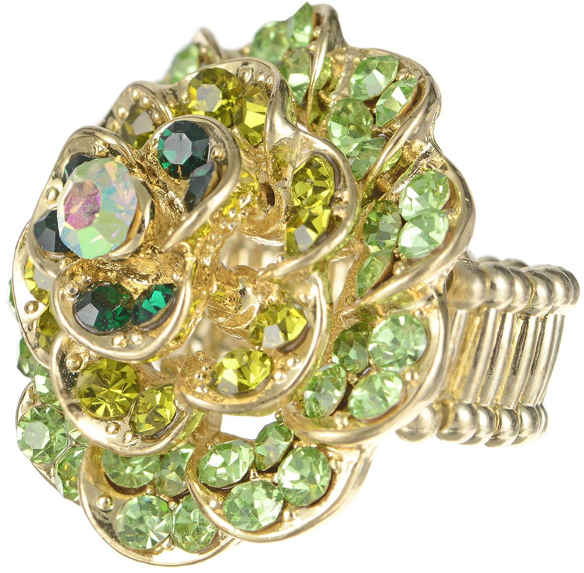 Кольцо Taya, цвет: золотой, зеленый. T-B-7315T-B-7315-RING-GREENОригинальное кольцо Taya выполнено в виде цветка из бижутерийного сплава, который оформлен стеклянными вставками. В основе кольца использована эластичная резинка, которая делает его размер универсальным. Стильное кольцо Taya блестяще подчеркнет изящество, женственность и красоту своей обладательницы.