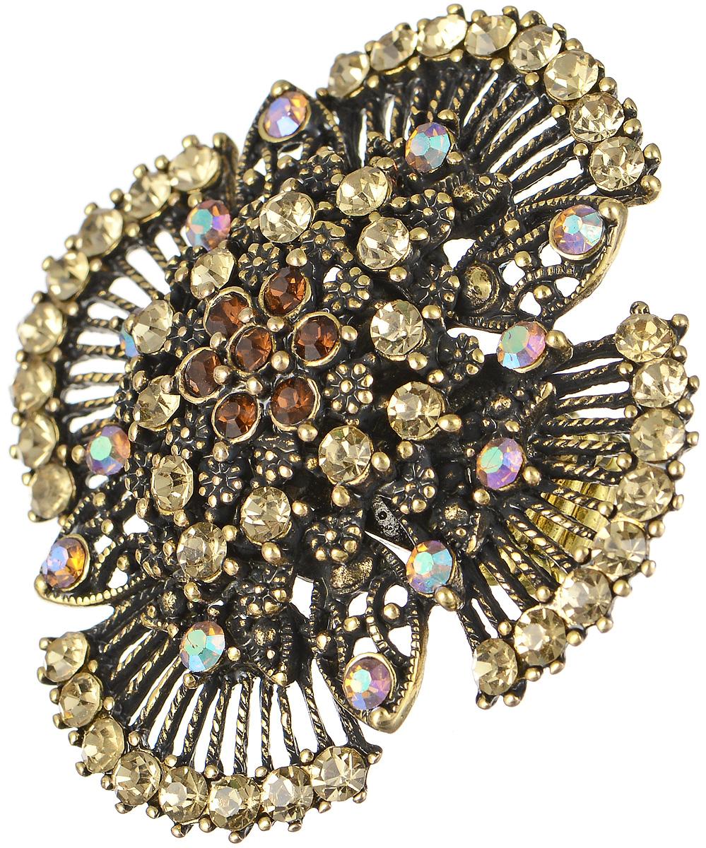 Кольцо Taya, цвет: золотистый. T-B-7610T-B-7610-RING-GOLDКольцо Taya выполнено из бижутерийного сплава и оформлено элементом в виде причудливого цветка, который дополнен стразами. Эластичная резинка, которая дополняет основание изделия, делает размер кольца универсальным. Элегантное кольцо Taya выгодно подчеркнет изящество, женственность и красоту своей обладательницы.