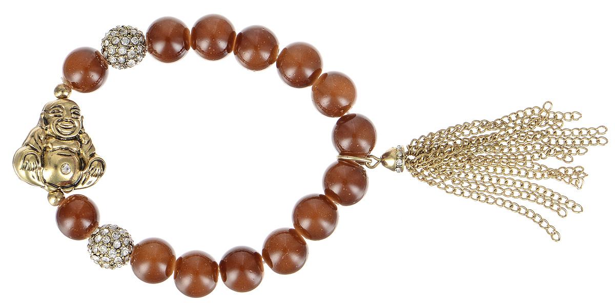 Браслет Taya, цвет: золотистый, коричневый. T-B-4566T-B-4566-BRAC-GL.BROWNСтильный браслет Taya выполнен в виде основы из эластичной резинки, на которую нанизаны стеклянные бусины. Изделие оформлено бусинами шамбала, подвеской с кистью из цепочек и элементом из металла в виде Будды. Эластичная резинка делает размер браслета универсальным. Браслет Taya блестяще подчеркнет изящество, женственность и красоту своей обладательницы.