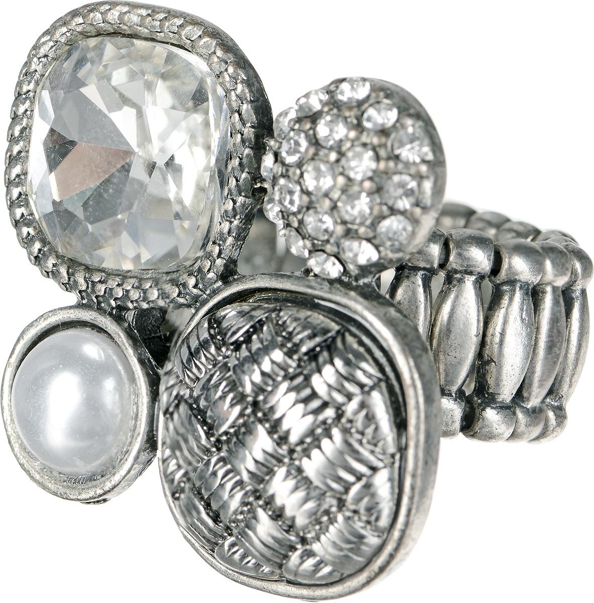 Кольцо Taya, цвет: серебристый. T-B-1191T-B-1191-RING-SILVERКольцо Taya выполнено из бижутерийного сплава и оформлено оригинальным декоративным элементом, который дополнен стразами, граненым камнем и перламутровой полубусиной. Эластичная резинка, которая дополняет основание изделия, делает размер кольца универсальным. Элегантное кольцо Taya выгодно подчеркнет изящество, женственность и красоту своей обладательницы.