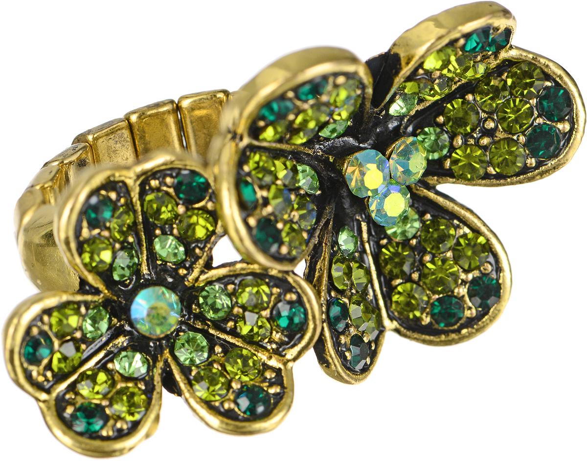 Кольцо Taya, цвет: золотистый, зеленый. T-B-7329T-B-7329-RING-GREENКольцо Taya выполнено из бижутерийного сплава и оформлено элементом в виде двух листочков клевера, которые дополнены стразами. Эластичная резинка, которая дополняет основание изделия, делает размер кольца универсальным. Элегантное кольцо Taya выгодно подчеркнет изящество, женственность и красоту своей обладательницы.