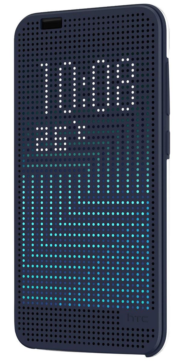 HTC HC M272 Dot View чехол для One A9, Dark Blue99H11980-00HTC HC M272 Dot View - фирменный чехол-раскладушка для One A9 - позволяет пользователю взаимодействовать с телефоном, не открывая крышку аксессуара. Лицевая сторона чехла выполнена из перфорированного пластика, сквозь отверстия которого хорошо просматривается информация на главном экране. При надетом чехле смартфон распознает аксессуар и включает специальный режим отображения данных. Чехол позволяет принимать звонки, получать уведомления о входящих звонках и сообщениях, состоянии аккумулятора. Двойным постукиванием по поверхности HTC Dot View включается Motion Launch и позволяет включить и выключить индикацию времени и погоды. Если провести по чехлу сверху вниз, активируется голосовой поиск.
