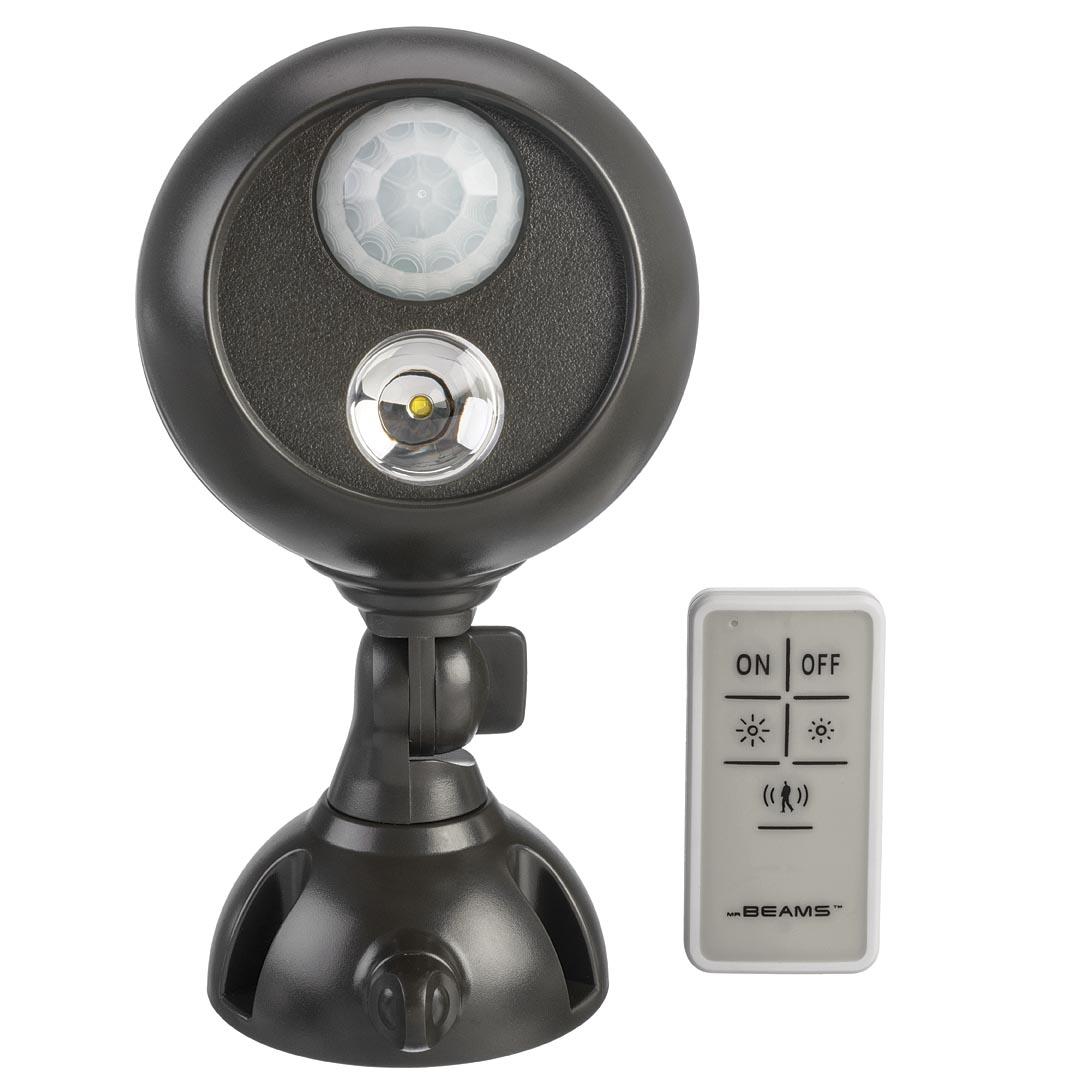 Светильник уличный MrBeams MB371 с датчиками движения и освещенности LED прожектор, 140 люмен, коричневый, 3 х D, пульт ДУ