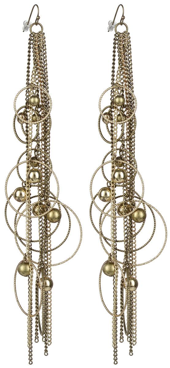 Серьги Taya, цвет: золотистый. T-B-1036T-B-1036-EARRINGS-GOLDСтильные серьги Taya выполнены из бижутерийного сплава на основе из латуни в виде шести тоненьких цепочек, оформленных кольцами разных размеров и металлическими бусинами. Серьги застегиваются на практичный замок-петлю с фиксаторами. Серьги Taya блестяще подчеркнут изящество, женственность и красоту своей обладательницы.