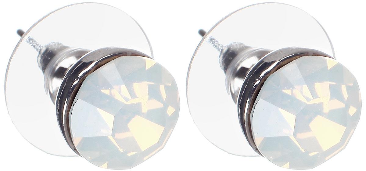 Серьги Taya, цвет: серебристый, опаловый. T-B-5679T-B-5679-EARR-RH.OPALОригинальные серьги-пуссеты Taya изготовлены из металлического сплава серебристого цвета. Модель дополнена вставкой из ограненного стекла. Серьги-пуссеты застегиваются на замок-гвоздик с пластиковыми заглушками. Такие серьги позволят вам с легкостью воплотить самую смелую фантазию и создать собственный, неповторимый образ.