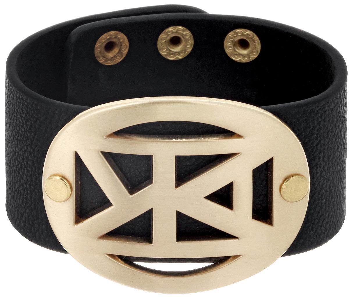 Браслет Taya, цвет: золотистый, черный. T-B-5487T-B-5487-BRAC-GL.BLACKСтильный женский браслет Taya выполнен из искусственной кожи и дополнен декоративным металлическим элементом. Застегивается на кнопки и имеет три позиции для регулировки размера. Такой браслет внесет изюминку в любой образ и подчеркнет индивидуальность.