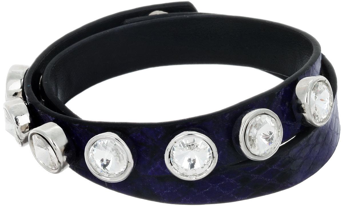 Браслет Taya, цвет: темно-синий, черный. T-B-7431T-B-7431-BRAC-D.BLUEСтильный женский браслет Taya изготовлен из искусственной кожи с тиснением. Изделие дополнено декоративными металлическими элементами, оформленными стразами. Браслет застегивается на кнопки. Длина изделия позволяет обернуть его несколько раз вокруг руки. Это необычное украшение отлично разбавит ваш повседневный образ, добавит в него изюминку. С помощью него вы сможете подчеркнуть свою индивидуальность и выделиться среди окружающих.