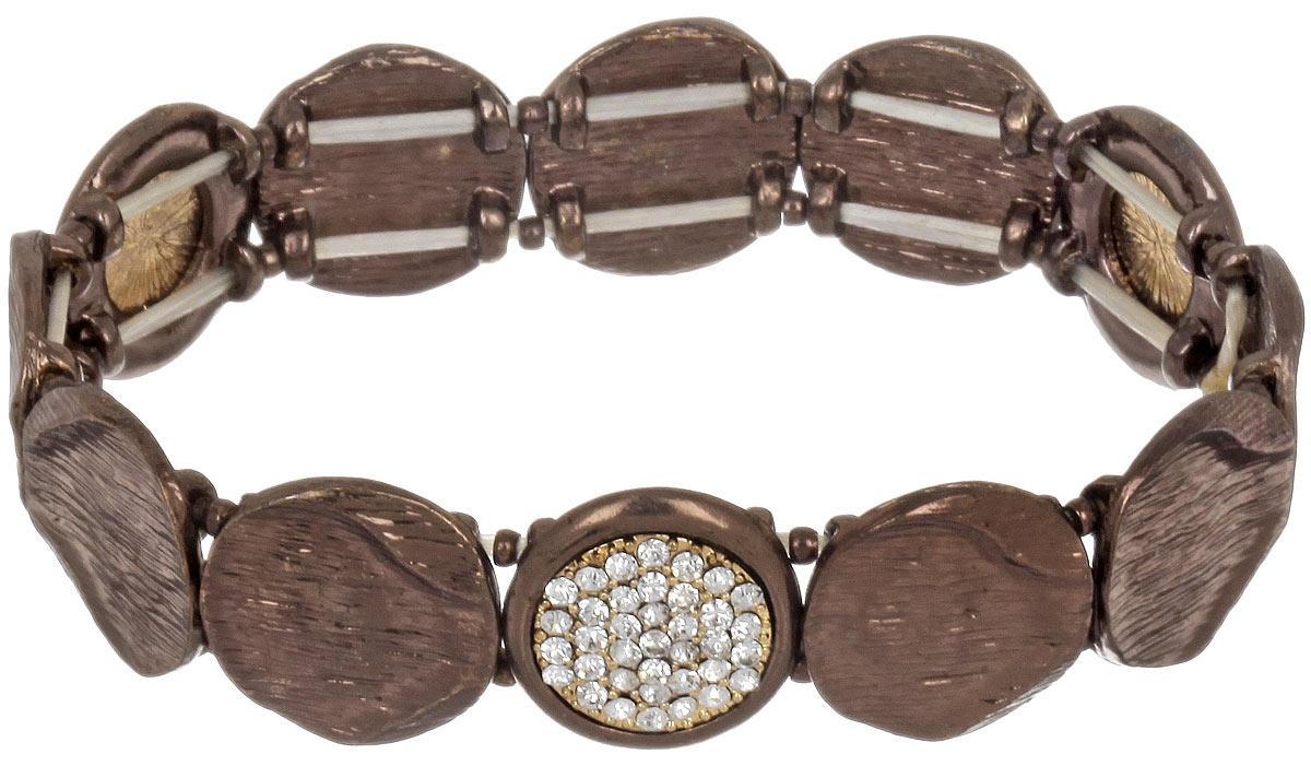 Браслет Taya, цвет: коричневый. T-B-4478T-B-4478-BRAC-BROWNОригинальный браслет Taya выполнен из металлического сплава и дополнен стразами. Элементы браслета соединены между собой при помощи тонкой резинки, благодаря которой изделие имеет универсальный размер. Его легко снимать и одевать. Такой браслет внесет изюминку в любой образ и подчеркнет индивидуальность.