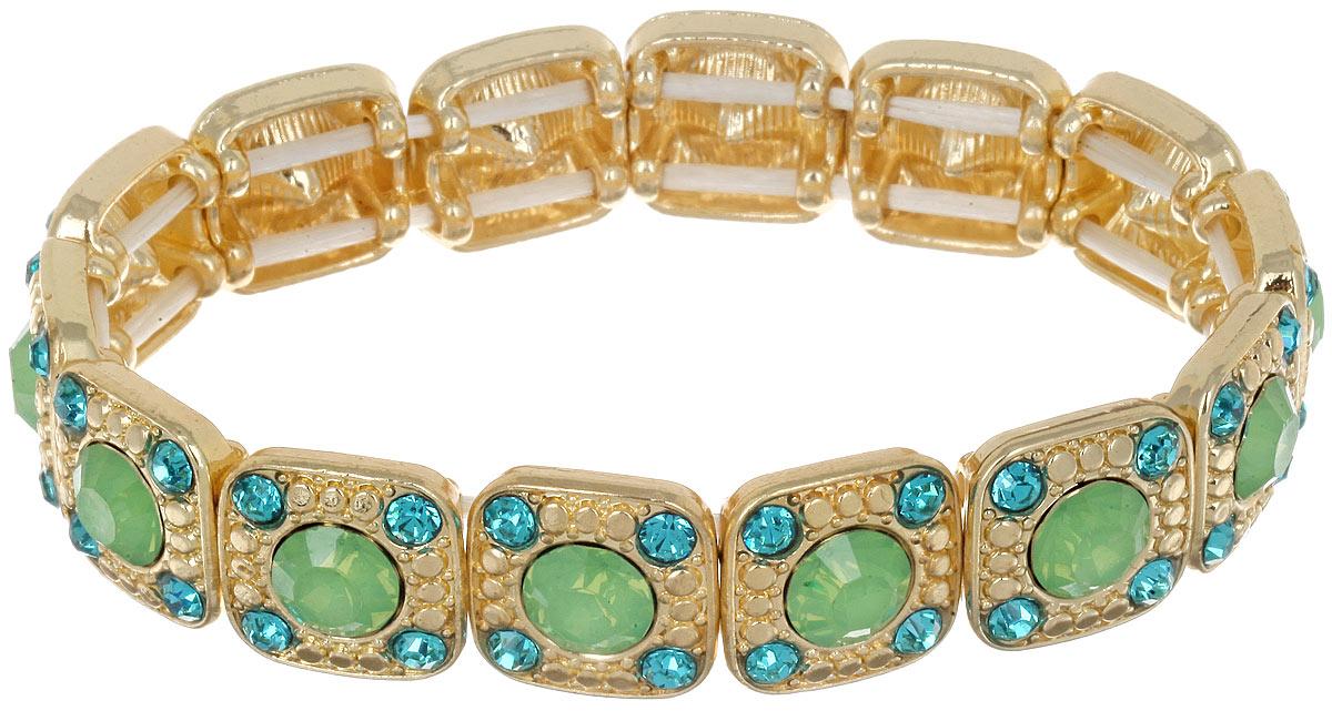 Браслет Taya, цвет: золотистый, зеленый. T-B-6983T-B-6983-BRAC-GL.GREENШикарный женский браслет Taya выполнен из металлического сплава золотистого цвета. Модель дополнена стразами. Элементы браслета соединены между собой при помощи эластичной резинки, которая позволит идеально зафиксировать модель на руке. Это стильное украшение элегантно завершит модный образ и подчеркнет ваш утонченный вкус.