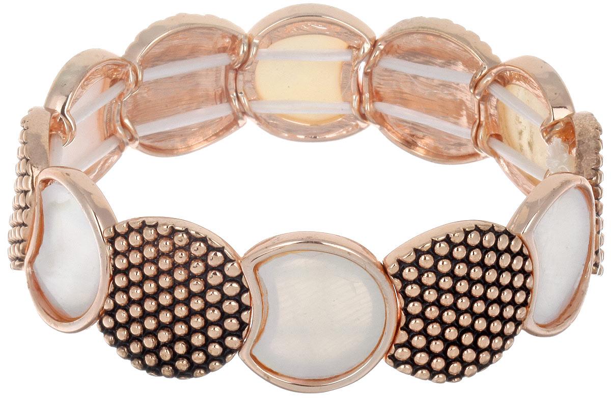Браслет Taya, цвет: золотистый, белый. T-B-6366T-B-6366-BRAC-R.GL.MOPСтильный женский браслет Taya придется по вкусу любой моднице. Натуральный перламутр в сочетании с искусно выгравированным золотистым металлическим сплавом придают этому украшению необычную стилистику на грани классики и модерна. Элементы браслета соединены с помощью тонкой резинки, благодаря которой изделие легко снимается и надевается. Размер универсальный. Такой браслет дополнит повседневный и праздничный образ, подчеркнув достоинства женской ручки.