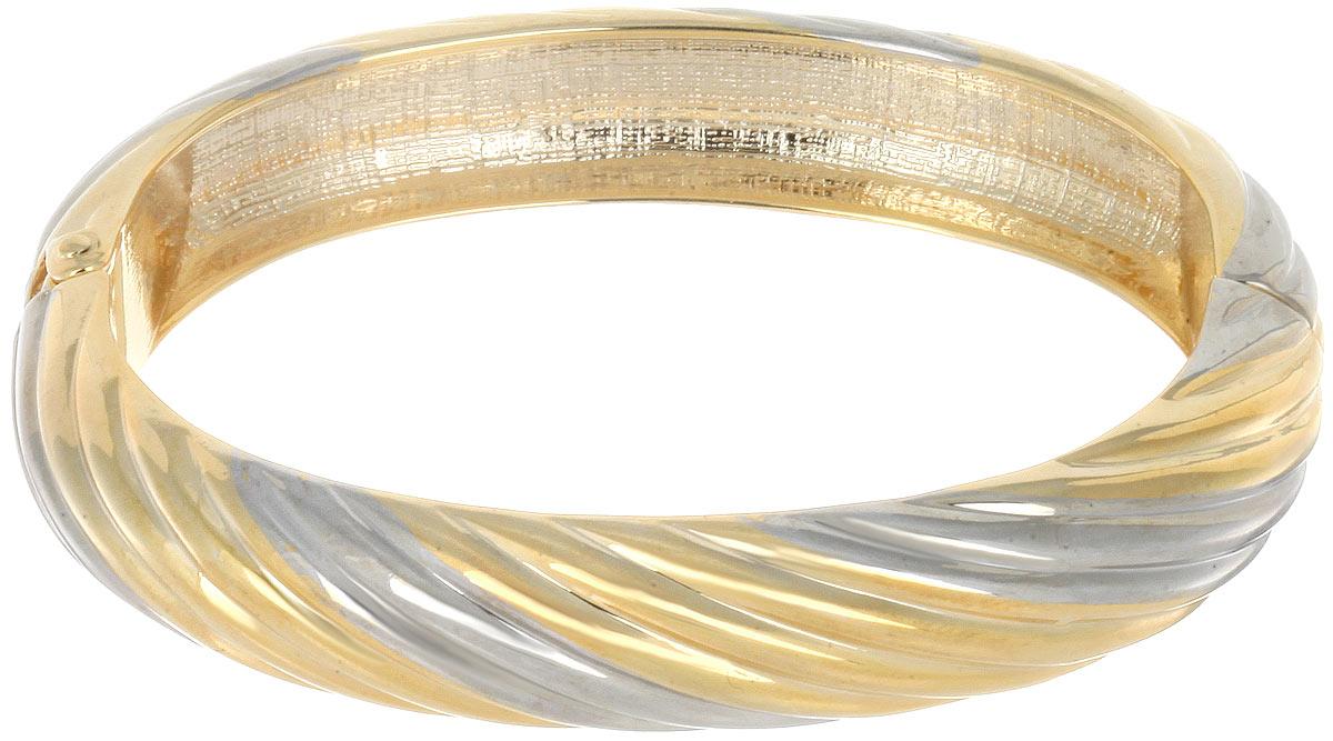 Браслет Taya, цвет: серебристый, золотистый. T-B-7081T-B-7081-BRAC-SL.GOLDСтильный женский браслет Taya выполнен из металлического сплава золотистого и серебряного цвета. Застегивается браслет на шарнирный замок. Такой браслет дополнит повседневный и праздничный образ, подчеркнув достоинства женской ручки.
