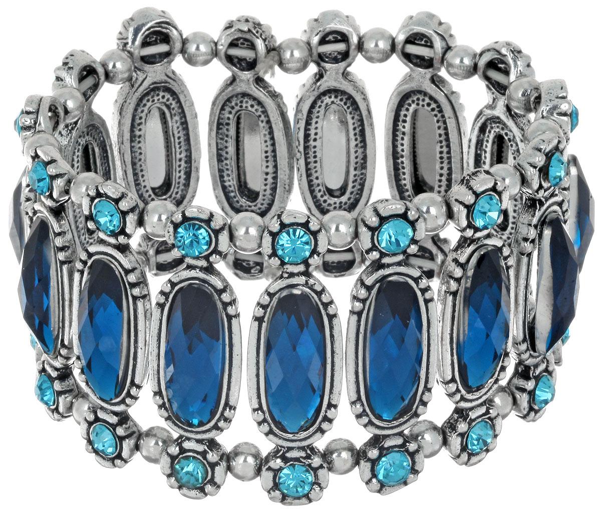 Браслет Taya, цвет: серебристый, синий. T-B-6793T-B-6793-BRAC-SL.BLUEСтильный женский браслет Taya, выполненный из металлического сплава, дополнен стеклянными стразами. Элементы браслета соединены с помощью тонкой резинки, благодаря которой изделие легко снимается и надевается. Размер универсальный. Браслет Taya - это модный стильный аксессуар, призванный подчеркнуть индивидуальность и очарование его обладательницы.