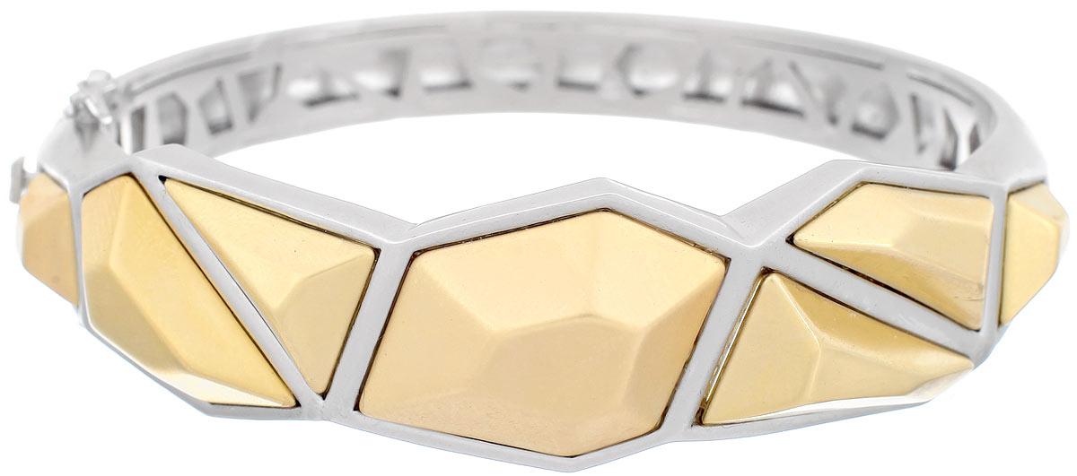 Браслет Taya, цвет: золотистый, серебристый. T-B-4976T-B-4976-BRAC-GL.RH.MATTEСтильный женский браслет Taya выполнен из металлического сплава и дополнен ассиметричными вставками. Застегивается изделие на защелку, расположенную на одной из боковых сторон, и дополнительно на две застежки-петельки. Оригинальный дизайн браслета понравиться тем, кто хочет быть в центре внимания. Красивый и необычный браслет блестяще подчеркнет ваш изысканный вкус и поможет внести разнообразие в привычный образ.
