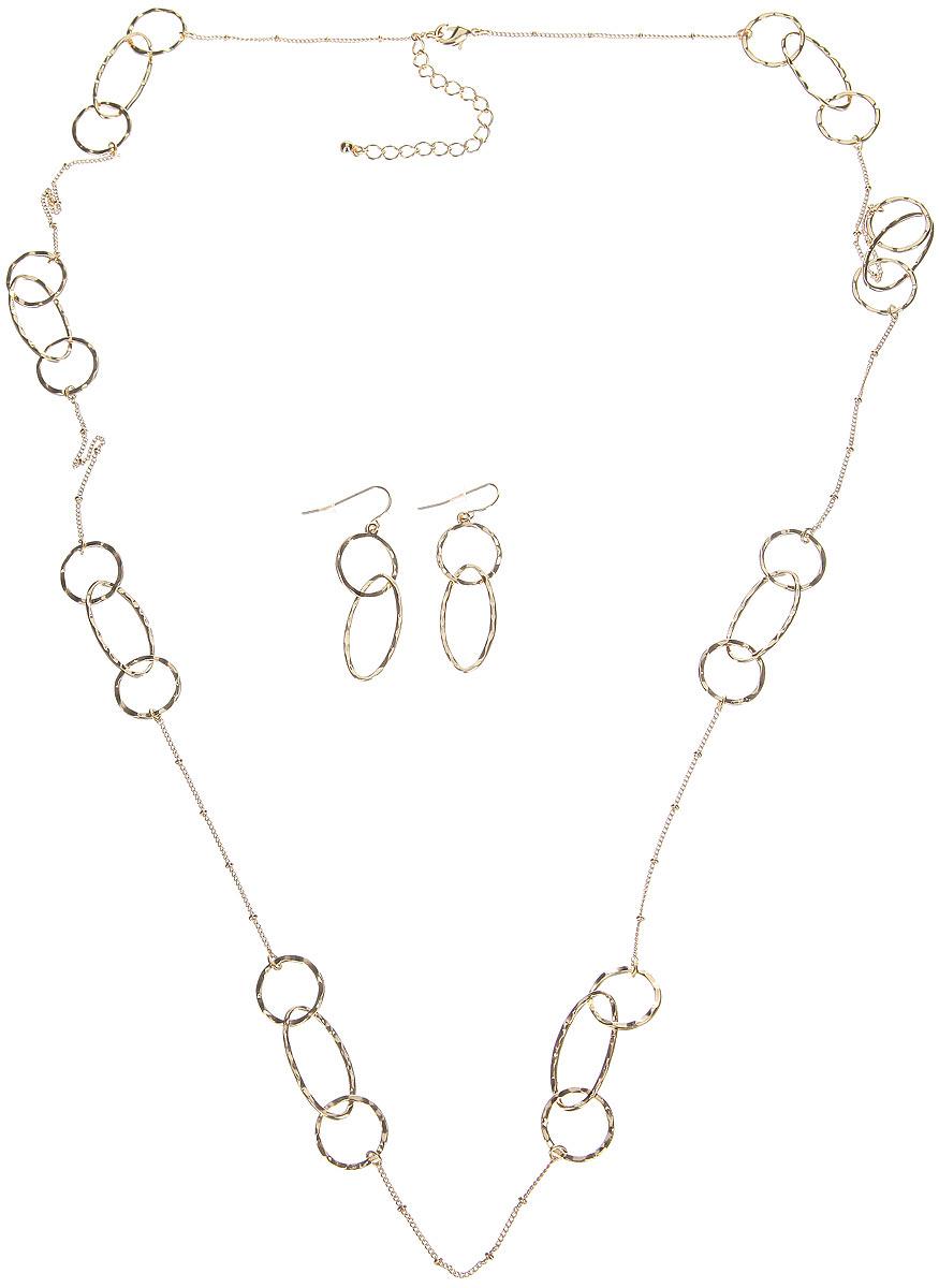 Комплект украшений Taya, цвет: золотистый. T-B-6127T-B-6127-SET-GOLDСтильный комплект украшений Taya включает в себя колье и серьги, выполнен из бижутерийного сплава и оформлен кольцами разных по размерам и формам. Колье застегивается на практичный замок-карабин, длина изделия регулируется за счет дополнительных звеньев. Серьги дополнены подвесками из колец. Изделие застегивается на замок-петлю с фиксаторами. Комплект украшений Taya блестяще подчеркнет изящество, женственность и красоту своей обладательницы.