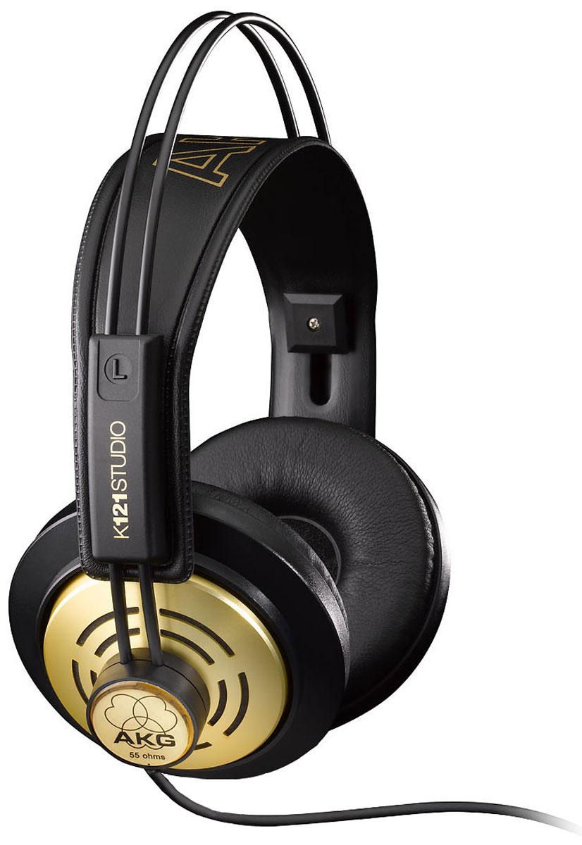 AKG K121 Studio, Black Gold наушникиK121AKG K121 - это профессиональные наушники начального уровня для студийной работы и домашней звукозаписи, созданные в ретро-стиле с учетом запросов клиентов. Это полуоткрытые наушники с амбрушюрами Supra Sural, способные предложить настоящую универсальность использования. K121 сделаны очень надежно, в классическом стиле AKG. Самонастраивающаяся стяжка наушников гарантирует комфортное использование. Амбушюры изготовлены из искусственной кожи, поэтому их легко чистить. В комплект также входит переходник на 6,3 мм для подключения к студийной аппаратуре.