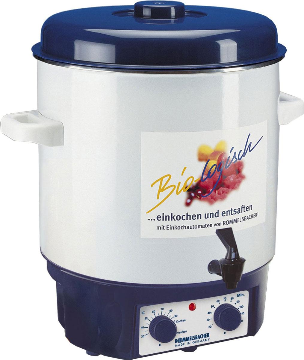 Rommelsbacher KA 1804 глинтвейн-мейкерKA 1804Глинтвейн-мейкер Rommelsbacher KA 1804 позволяет в течение всего года наслаждаться плодами лета. Фруктовые соки, глинтвейн и варенье приготавливаются легко, просто и удобно. Также прибор прекрасно поддерживает горячую температуру напитков. Rommelsbacher KA 1804 можно использовать для стерилизации банок, а благодаря удобному крану можно наливать горячий глинтвейн, пунш и другие напитки. Контрольная лампа нагрева Встроенный термостат Таймер: 120 минут Двойной слой прочной эмали на баке