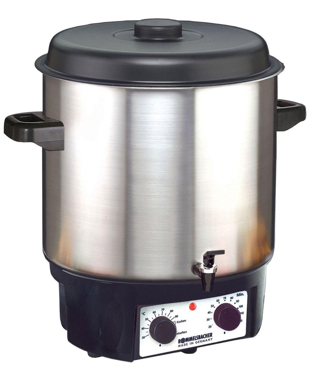 Rommelsbacher KA 2004/E глинтвейн мейкерKA 2004/EГлинтвейн-мейкер Rommelsbacher KA 2004/E позволяет в течение всего года наслаждаться плодами лета. Фруктовые соки, глинтвейн и варенье приготавливаются легко, просто и удобно. Также прибор прекрасно поддерживает горячую температуру напитков. Rommelsbacher KA 2004/E можно использовать для стерилизации банок, а благодаря удобному крану можно наливать горячий глинтвейн, пунш и другие напитки. Контрольная лампа нагрева Встроенный термостат Таймер: 120 мин