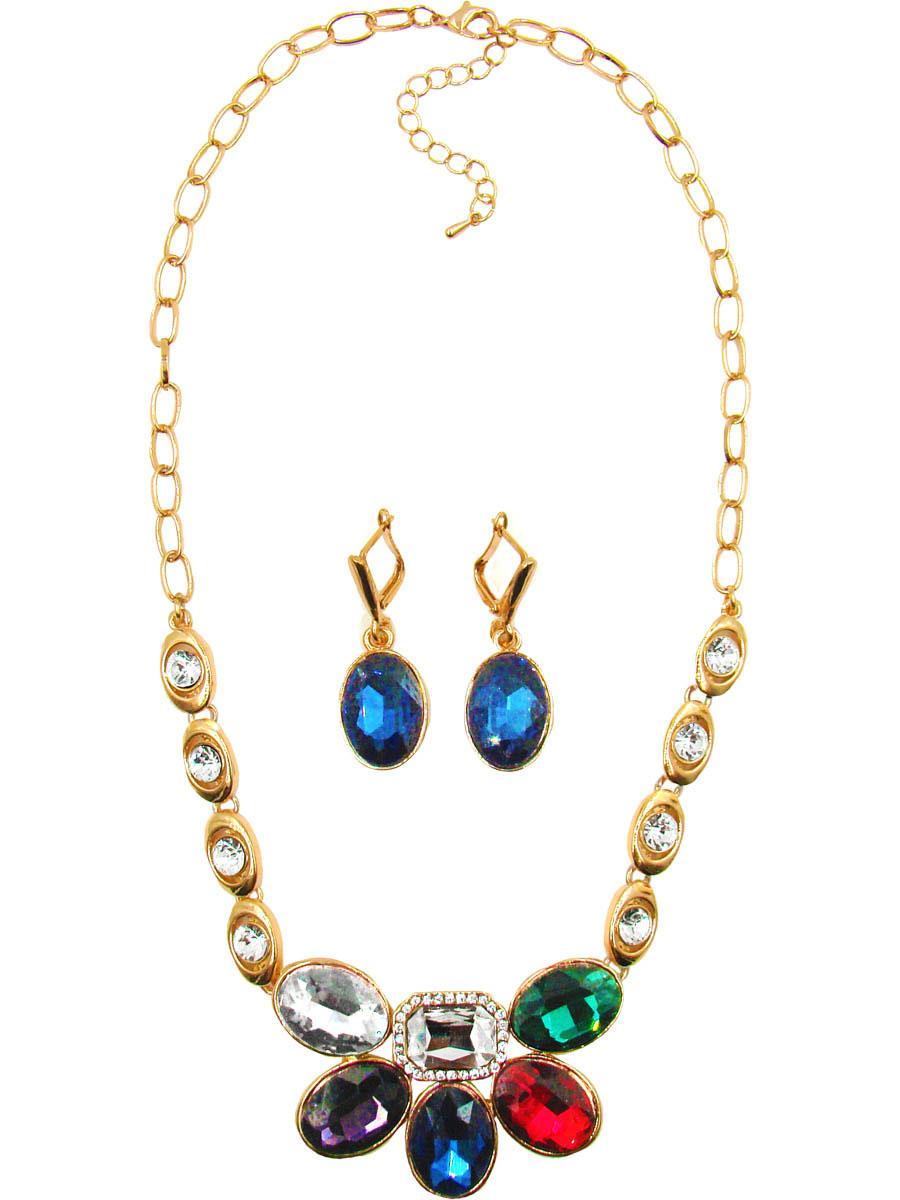 Комплект украшений Taya: серьги, колье, цвет: золотой, мультиколор. T-B-10264