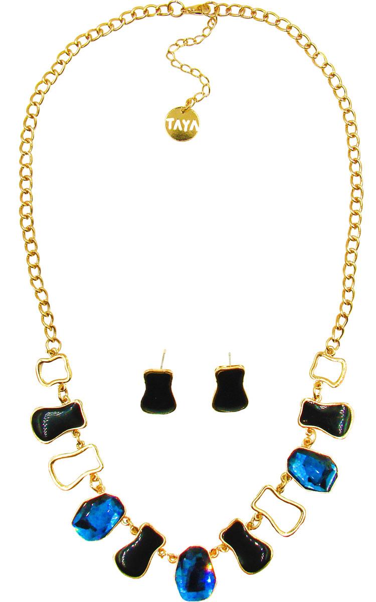 Комплект украшений Taya: серьги, колье, цвет: золотистый, черный, синий. T-B-10241 ( T-B-10241-SET-GL.BLACK )