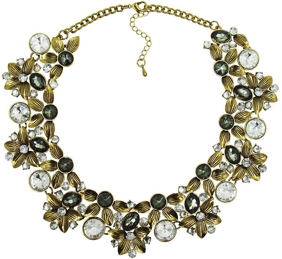 Ожерелье Taya, цвет: золотистый, серый. T-B-8988T-B-8988-NECK-GOLDЭлегантное ожерелье Taya, выполнено из бижутерийного сплава. Изделие состоит из элементов в форме цветков, скрепленных между собой и дополненных вставками из стеклянных камней и стразов. Ожерелье застегивается на практичный замок-карабин, длина регулируется за счет дополнительных звеньев. Стильное ожерелье придаст вашему образу изюминку, подчеркнет индивидуальность.