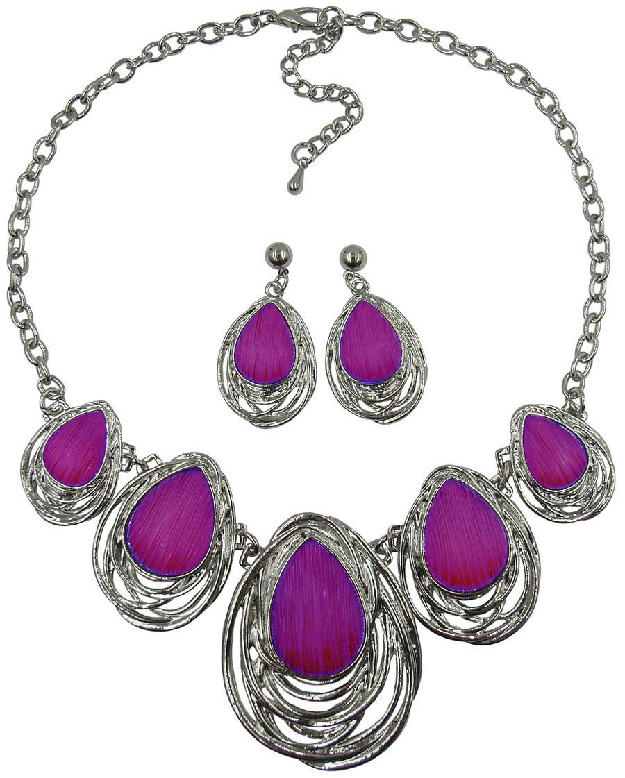 Комплект украшений Taya: серьги, колье, цвет: серебряный, пурпурный. T-B-98