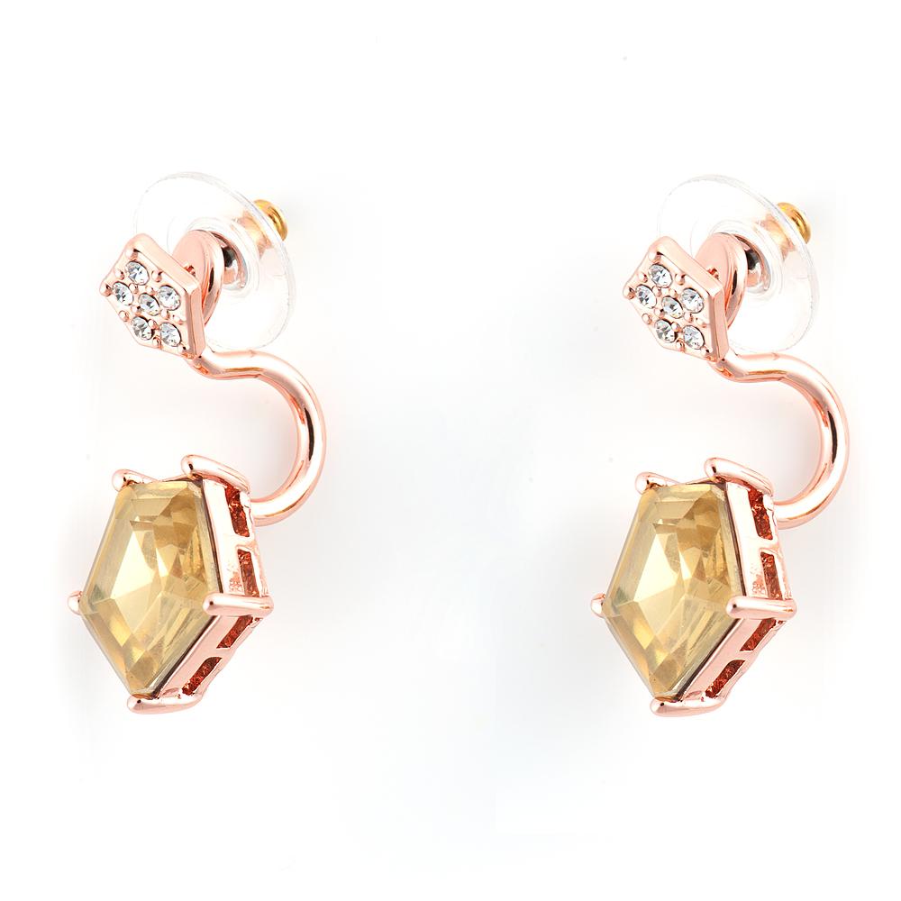 Серьги Selena Medea, цвет: золотистый, желтый. 2008417020084170Роскошные серьги Selena Medea выполнены из металла с золотистым покрытием. Серьги оформлены кристаллами Preciosa и дополнены съемными подвесками, которые позволяют использовать серьги отдельно от них. Застегиваются серьги на замок-гвоздик с заглушками. Такие серьги будут ярким дополнением вашего образа.