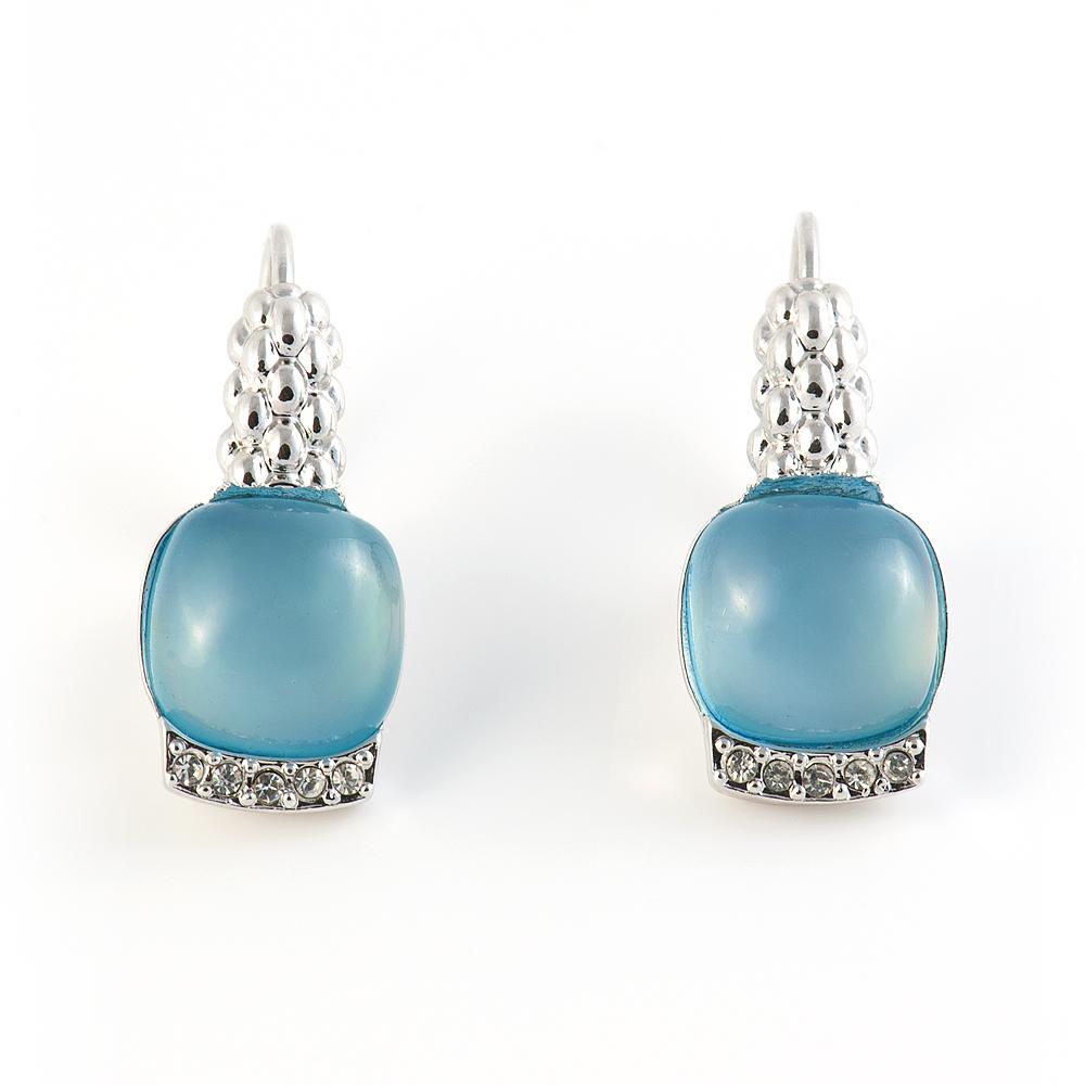 Серьги Selena Medea, цвет: серебристый, голубой. 2008419020084190Великолепные серьги Selena Medea выполнены из металла с родиевым покрытием. Серьги дополнены вставками из ювелирной смолы и инкрустированы кристаллами Preciosa. Застегиваются серьги на замок-омегу. Такие серьги позволят вам с легкостью воплотить самую смелую фантазию и создать собственный, неповторимый образ.
