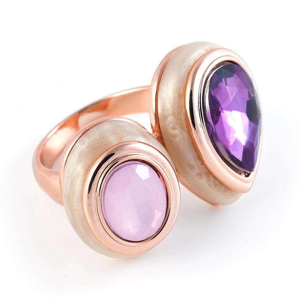 JV Женское серебряное кольцо с куб. циркониями, RS0046_001_WG, 16.5