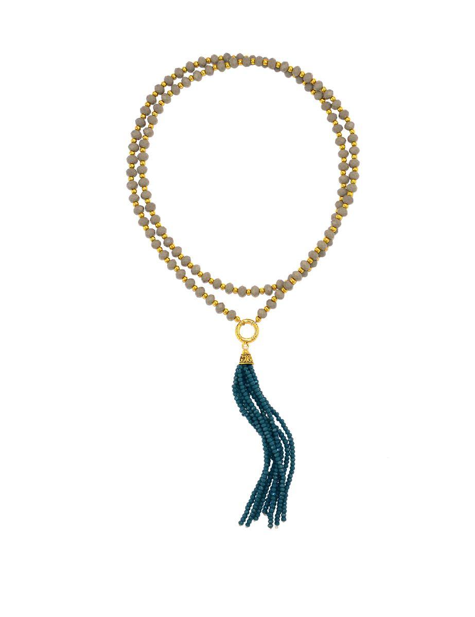 Колье Polina Selezneva Кисточка. Серые и синие кристаллы, сплав, цвет: серый, синий. 001-1450001-1450