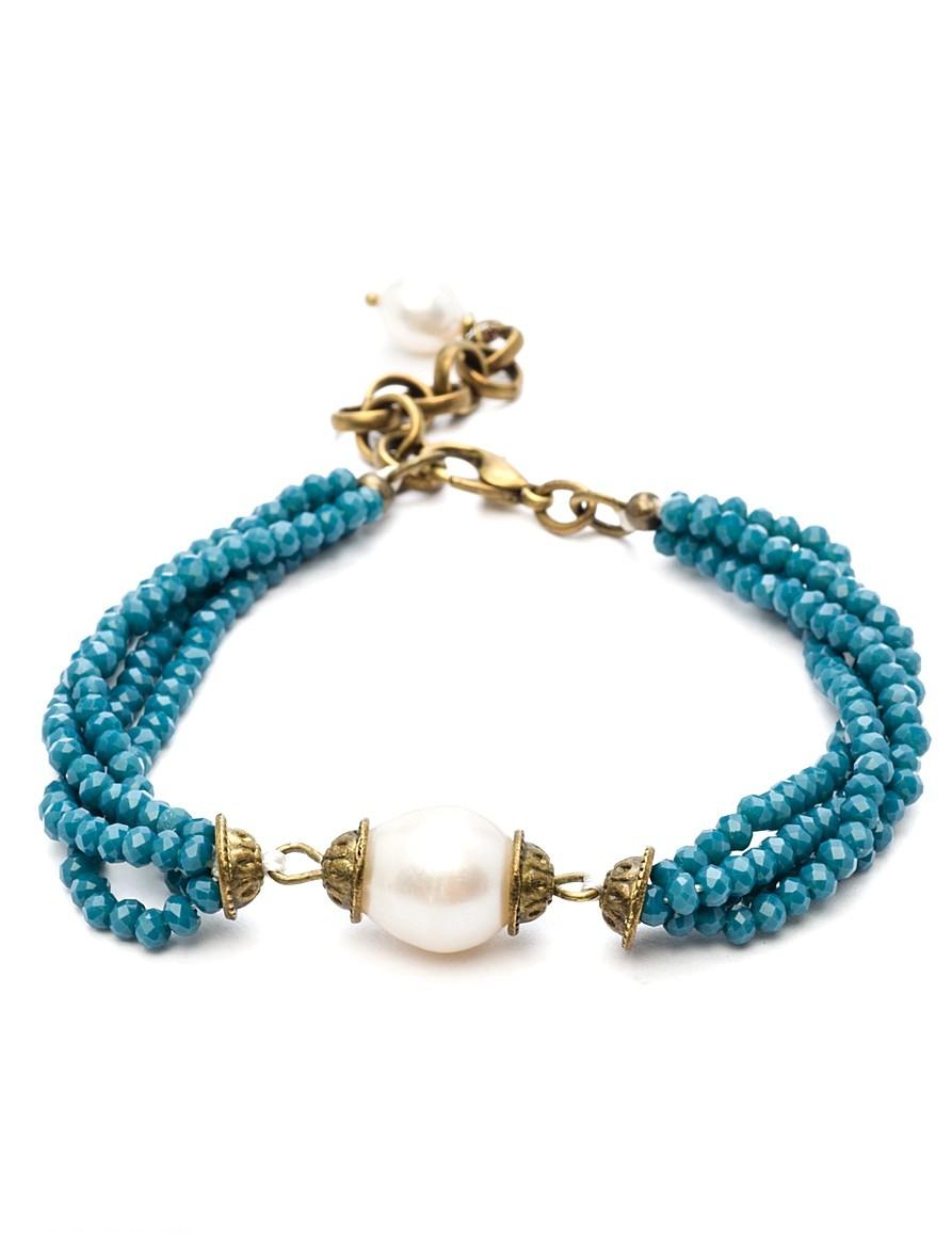 Браслет Polina Selezneva Кисточки. Синие кристаллы, речной жемчуг, сплав, цвет: синий, белый. 002-2564002-2564