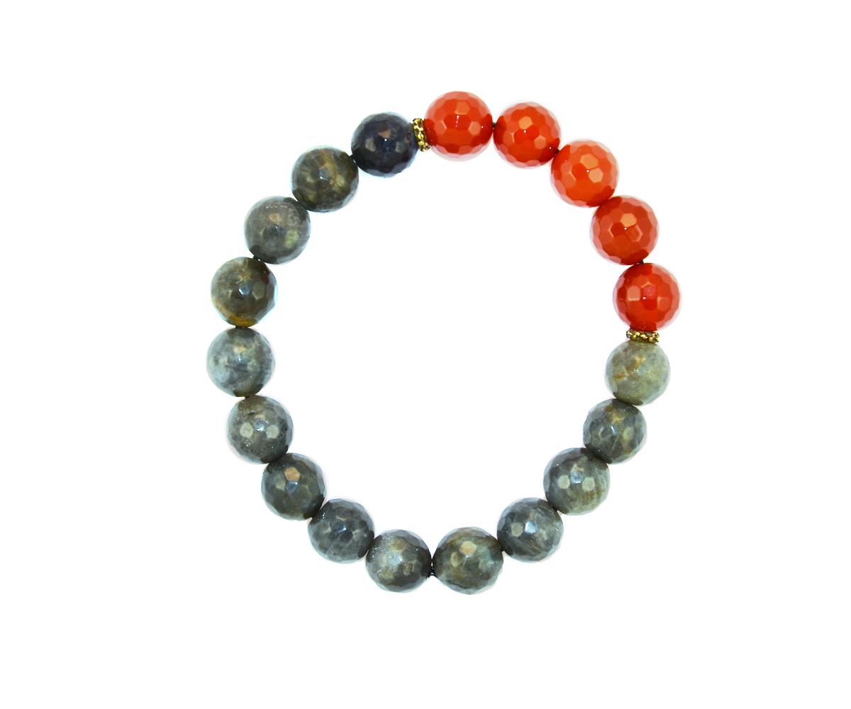 Браслет Polina Selezneva Осень.Сердолик, лабрадор, сплав, цвет: серый, оранжевый. 002-2651002-2651