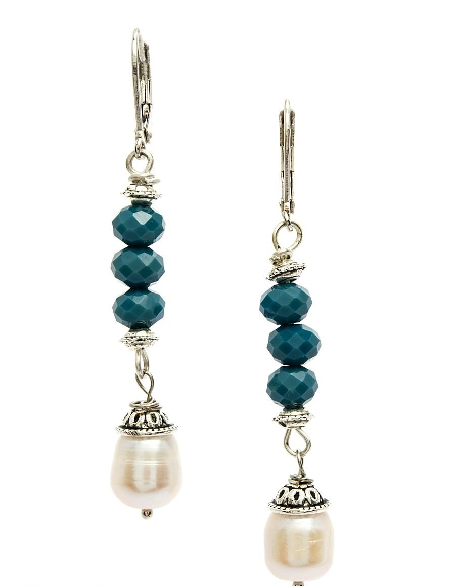 Серьги Polina Selezneva Небо. Синие кристаллы, речной жемчуг, сплав, цвет: синий, белый. 004-0886004-0886