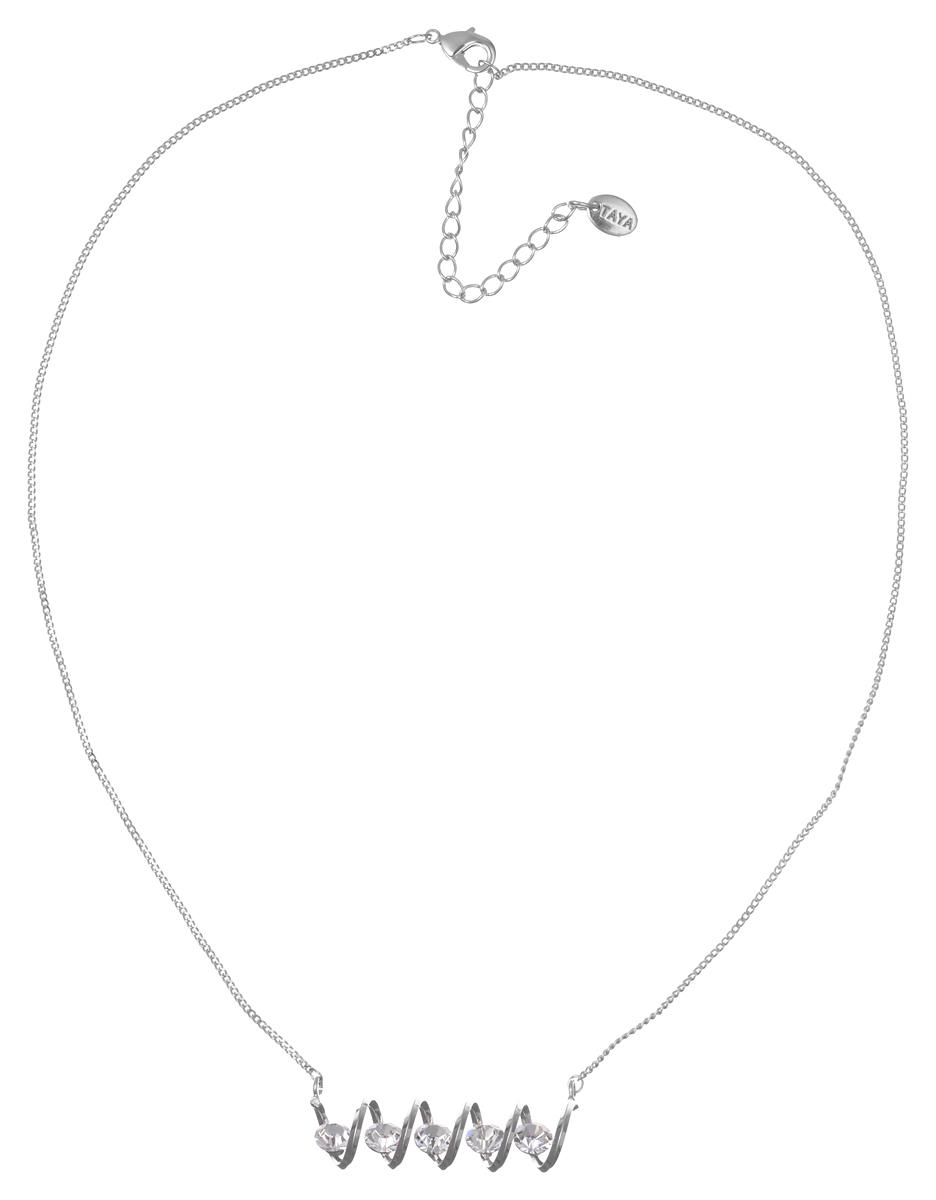 Колье Taya, цвет: серебристый. T-B-7171T-B-7171-NECK-SILVERИзящное колье Taya выполнено из металлического сплава. Колье представляет собой цепочку тонкого плетения с подвеской в виде спирали, украшенной стразами. Колье имеет надежную застежку-карабин с регулирующей длину цепочкой. Такое колье внесет изюминку в любой образ и подчеркнет индивидуальность.