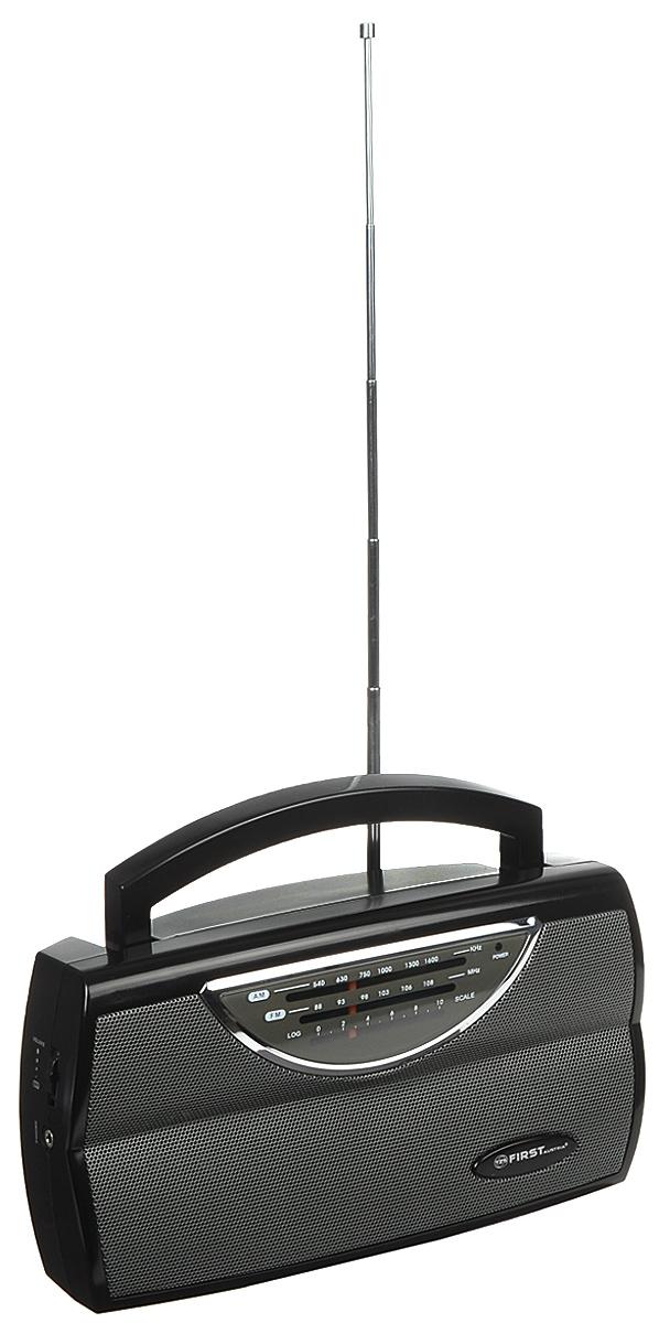 First FA-1904, Black радиоприемникFA-1904 BlackFirst FA-1904 - компактный и стильный радиоприемник с поддержкой диапазонов AM и FM. Приемник обладает удобной ручкой для переноски и телескопической антенной. Для подключения дополнительных аудио-устройств имеются линейный аудиовход и разъем для наушников. Питание осуществляется как от сети, так и от 3 батареек типа UM1 (не входят в комплект). Выходная мощность: 0,75 Вт Сопротивление: 8 Ом