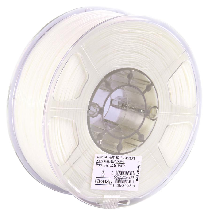 ESUN ABS-пластик в катушке, White (ABS175N1)ABS175N1Пластик ABS от ESUN долговечный и очень прочный полимер, ударопрочный, эластичный и стойкий к моющим средствам и щелочам. Один из лучших материалов для печати на 3D принтере. Пластик ABS не имеет запаха и не является токсичным. Температура плавления 220-260°C. ABS пластик для 3D-принтера применяется в деталях автомобилей, канцелярских изделиях, корпусах бытовой техники, мебели, сантехники, а также в производстве игрушек, сувениров, спортивного инвентаря, деталей оружия, медицинского оборудования и прочего. Диаметр пластиковой нити: 1.75 мм