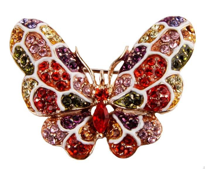 Брошь Сверкающая бабочка. Бижутерный сплав, кристаллы, эмаль. Корея, конец ХХ века027-0001Винтажная брошь Сверкающая бабочка. Бижутерный сплав, кристаллы, эмаль. Корея, конец ХХ века. Размер броши 3,5 х 3 см. Сохранность хорошая. Изумительная брошь виде бабочки, инкрустированная множеством кристаллов. Кристаллы прекрасной ювелирной огранки различных оттенков , будто крылья бабочки, переливаются при попадании на них лучей света. Чудная брошь как для юных барышень, так и для дам элегантного возраста.