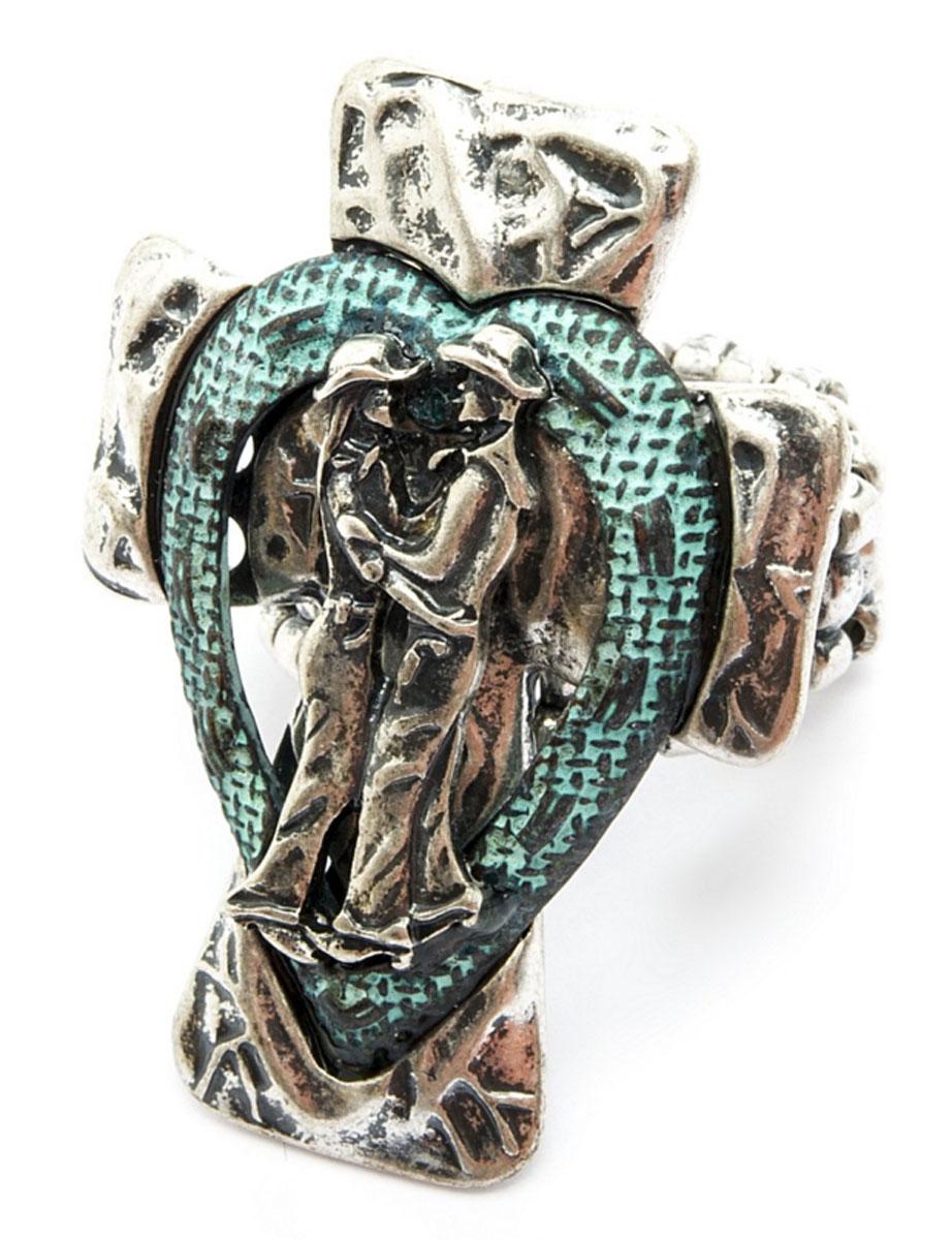 Кольцо Avgad, цвет: серебристый, бирюзовый. EA178JW245EA178JW245Оригинальное кольцо Avgad выполнено из бижутерийного сплава, оформлено декоративным элементом в форме креста, который дополнен изображением мужчины и женщины. Стильное кольцо придаст вашему образу изюминку, подчеркнет индивидуальность.