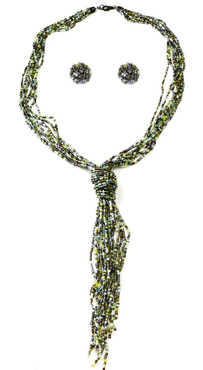 Бусы,серьги Bohemia Style, цвет: хаки, светло-зеленый. 1248 3793 01