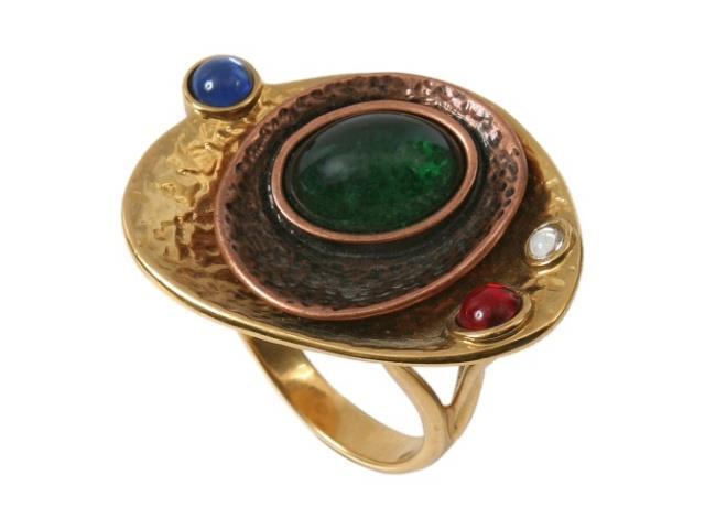 Кольцо Jenavi Дубхе, цвет: золотой, коричневый, зеленый. b052r070. Размер 18b052r070Кольцо современного дизайна Jenavi Дубхе изготовлено из гипоаллергенного ювелирного сплава с покрытием из золота и меди. Дополняет кольцо граненый кристалл Swarovski, а также вставки из эмали и стекла. Стильное кольцо придаст вашему образу изюминку и подчеркнет индивидуальность.