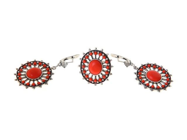 Комплект украшений Jenavi 'Гюксель': кольцо, серьги, цвет: серебристый, оранжевый. Размер 17. b62532c0