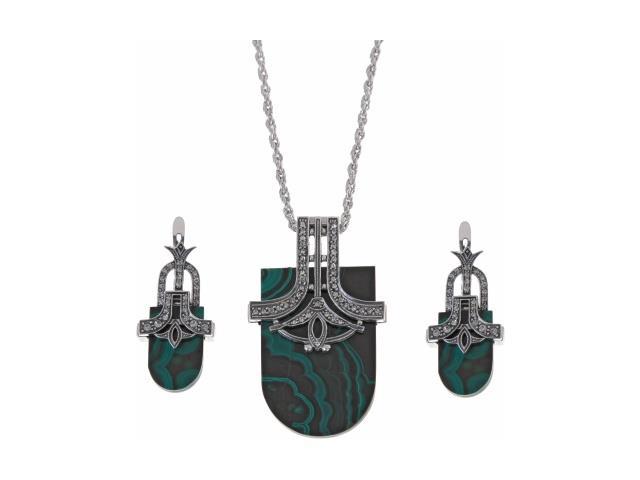 Комплект украшений Jenavi 'Самоцветы': колье, серьги, цвет: серебряный, зеленый. d38732m0