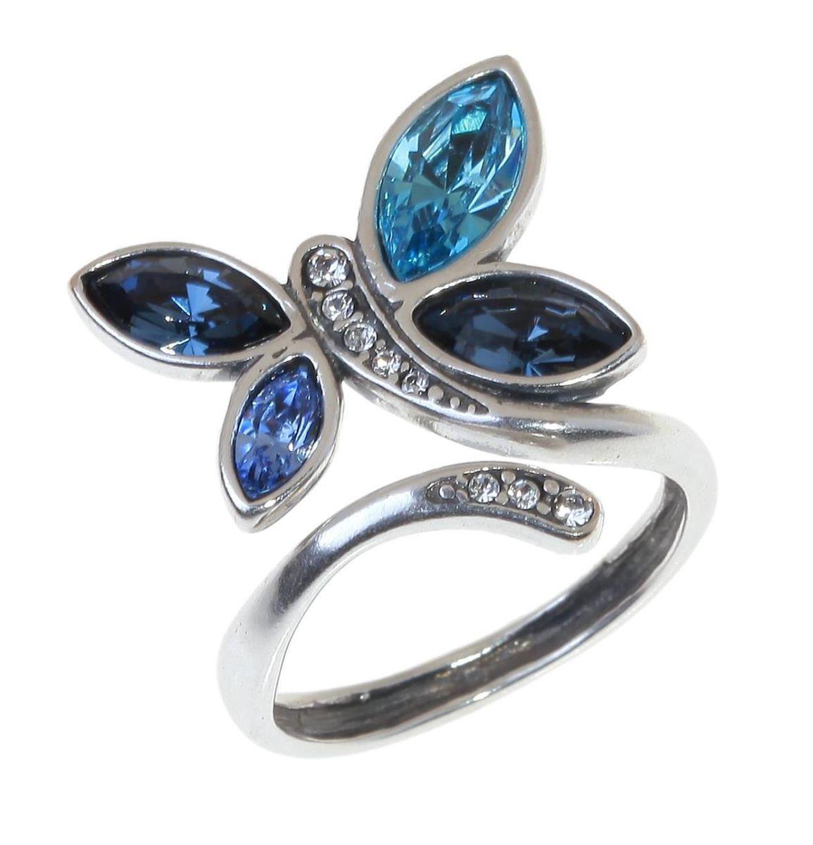 Кольцо Jenavi Доминика, цвет: серебряный, голубой. e8763040